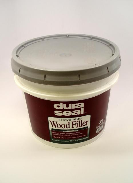 Dura seal maple ash pine trowelable wood filler 3 5 gallon for Wood floor hole filler